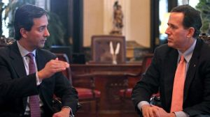 Puerto Rico Governor Luis Fortuño meets with GOP Candidate Rick Santorum (Courtesy: AP/Dennis M. Rivera Pichardo)