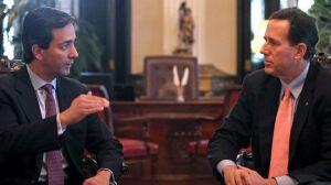 Puerto Rico Governor Luis Fortuño meets with GOP Candidate Rick Santorum (Courtesy: AP/Dennis M. Rivera Pichardo)